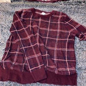 Pink/Maroon Plaid sweater